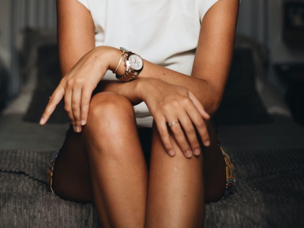woman wearing vegan watch and accessories