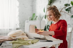 woman making sustainable vegan clothes