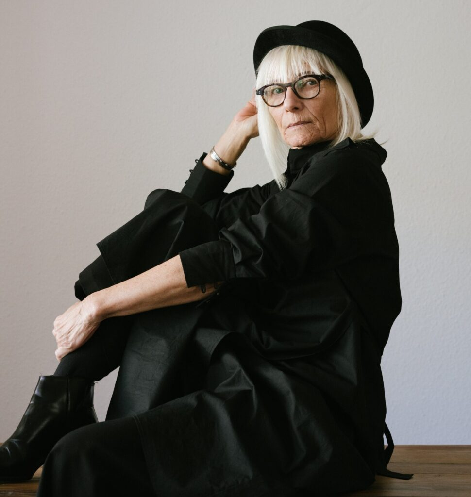 fashionable woman wearing vegan sustainable fashion