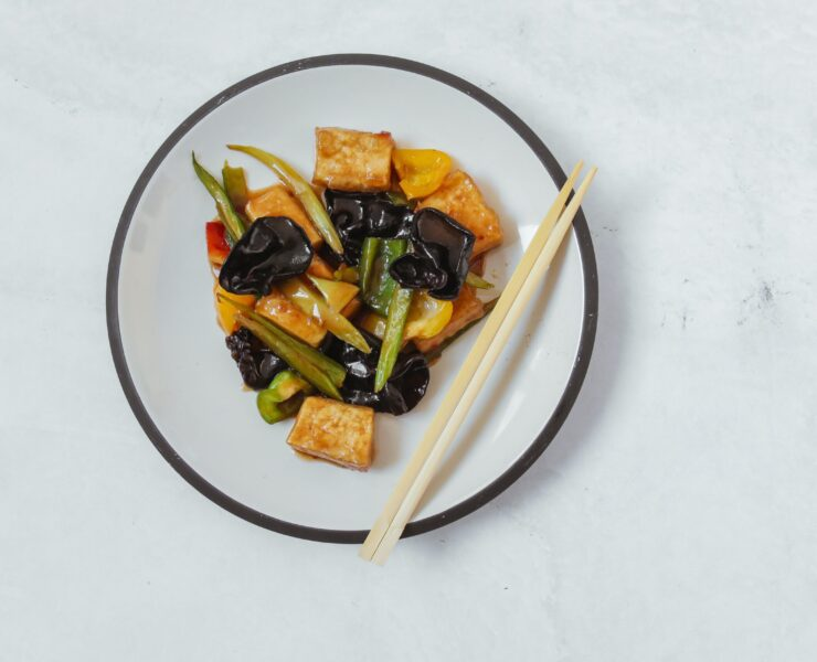 vegan soy in the form of tofu cooked in a vegan dish