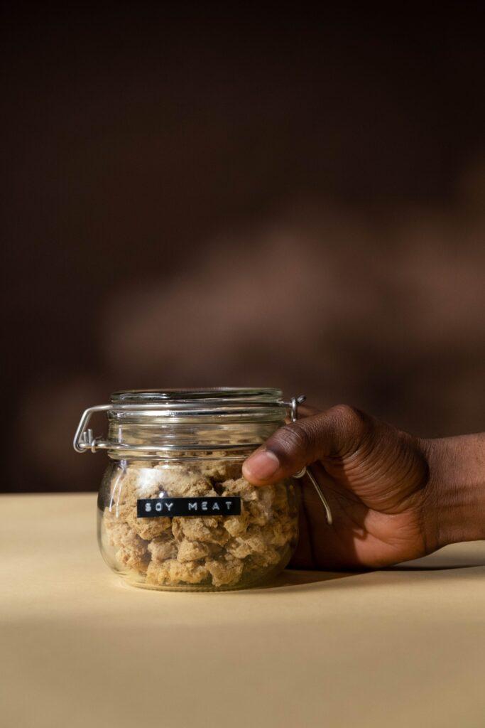 soy meat in a jar