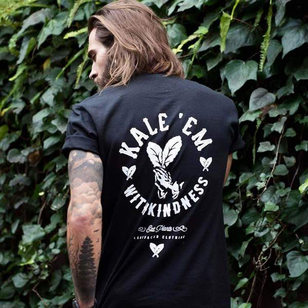 vegan clothing t shirts plant faced clothing kale em with kindness tee black 100 organic cotton t shirt 24937364621 grande Dress in Style With Our Vegan Clothes Guide