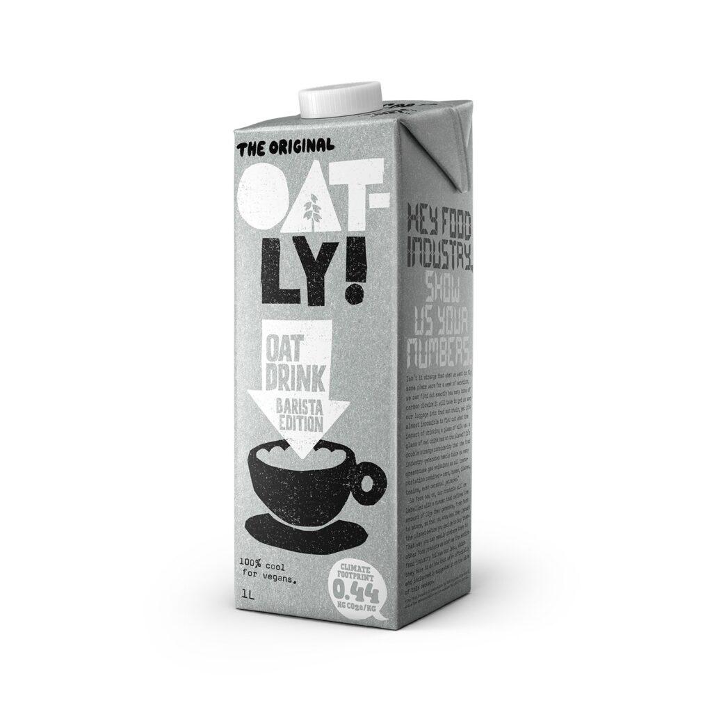 A carton of Oatly Barista oat milk