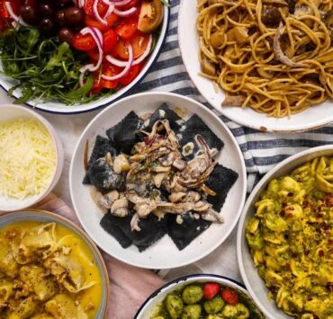 an array of vegan pasta dishes for delivery from Pastan
