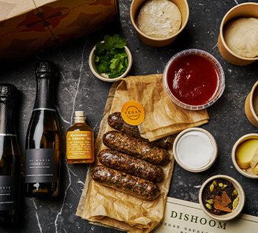 mimosas and vegan sausage naan meal kit by dishoom