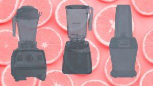 the best blenders for vegans ontop of pink oranges